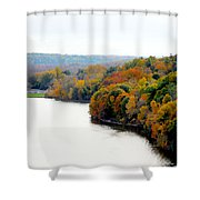 Fall Foliage In Hudson River 13 Shower Curtain