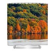 Fall Foliage In Hudson River 14 Shower Curtain