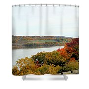 Fall Foliage In Hudson River 5 Shower Curtain