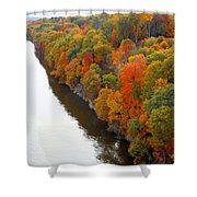 Fall Foliage In Hudson River 6 Shower Curtain