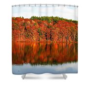 Fall Foliage Reflection Kennebec River Hallowell Shower Curtain