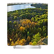 Fall Forest And Lake Top View Shower Curtain