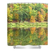 Fall Forest Reflection Shower Curtain by Joshua Bales