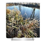 Fall Frost On Grasses Along Nippersink Creek Shower Curtain