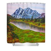 Fall In Mountains Landscape Oil Painting Shower Curtain