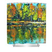 Fall Landscape Acrylic Painting Framed Shower Curtain