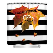Fall Leaf Love Typography On Black And White Stripes Shower Curtain