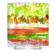 Fall Leaves Trees 2 Shower Curtain