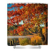 Fall On The Patuxent Shower Curtain by Cindy Lark Hartman