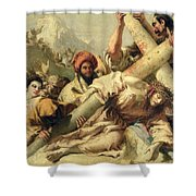 Fall On The Way To Calvary Shower Curtain by G Tiepolo