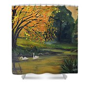 Fall Pond With Swans Shower Curtain