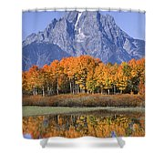 Fall Reflection At Oxbow Bend Shower Curtain