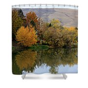 Fall Reflection Below The Hills In Prosser Shower Curtain