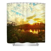 Fall Sunset At Lake Murray San Diego Shower Curtain