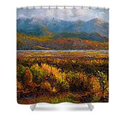 Fall Shower Curtain by Talya Johnson