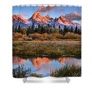 Fall Teton Tip Reflections Shower Curtain