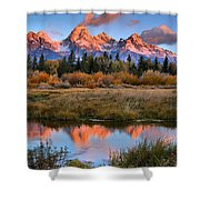Fall Teton Tip Reflections Shower Curtain
