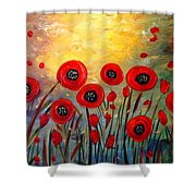 Fall Time Poppies  Shower Curtain