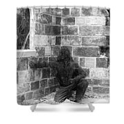 Fallen Airman Black And White Shower Curtain