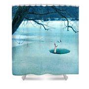 Fallen Through The Ice Shower Curtain by Jill Battaglia