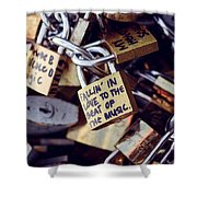 Falling In Love To The Beat Of The Music, Love Lock Shower Curtain