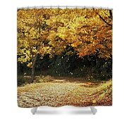 Bass Lake Falling Leaves Shower Curtain