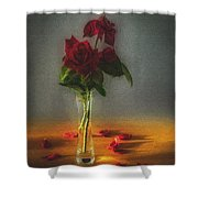Falling Red Petals Shower Curtain