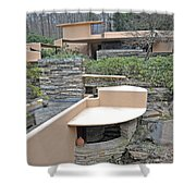 Falling Water Lines Curves Shower Curtain