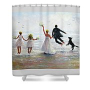 Family Beach Wedding Shower Curtain
