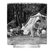 Family Camping, C.1970s Shower Curtain