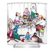 Family Dinner Shower Curtain