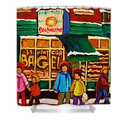 Family  Fun At St. Viateur Bagel Shower Curtain