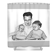 Family In Pointillism Shower Curtain