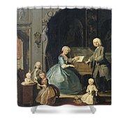 Family Group Near A Harpsichord, 1739 Shower Curtain