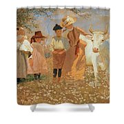 Family Group With Cow Shower Curtain