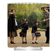 Family Of Four In Park Beside Bandstand Shower Curtain
