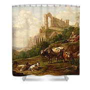 Family Of Herdsmen And Their Cattle Shower Curtain