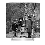 Family Out Walking On A Wintry Day Shower Curtain