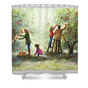 Family Picking Apples Shower Curtain