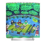 Family Picnic In Palau Shower Curtain