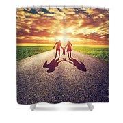 Family Walk On Long Straight Road Towards Sunset Sun Shower Curtain