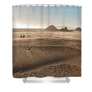 Family Walking On Sand Towards Ocean Shower Curtain