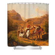 Family With Animals Shower Curtain