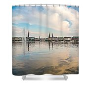 Famous Binnenalster In Hamburg Downtown At Sunset Shower Curtain
