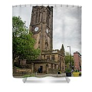 Famous Cathedral Of Manchester City In  Uk Shower Curtain