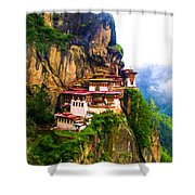 Famous Tigers Nest Monastery Of Bhutan 11 Shower Curtain