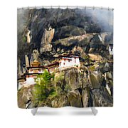 Famous Tigers Nest Monastery Of Bhutan 3 Shower Curtain