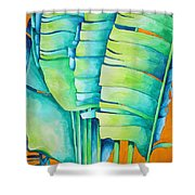 Fan Palm With Orange 2 Shower Curtain