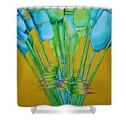 Fan Palm With Yellow Shower Curtain