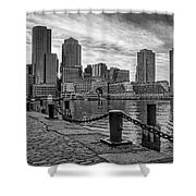 Fan Pier Boston Harbor Bw Shower Curtain